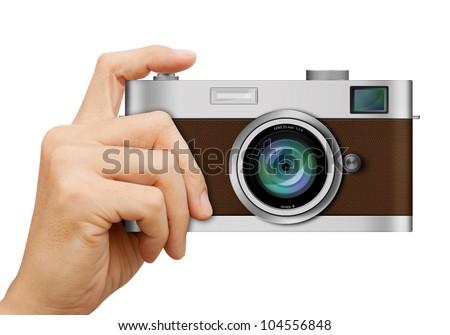 classic camera hand on white background stock illustration 104556848