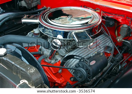 Classic Car Engine - stock photo