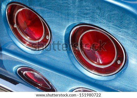 classic car rear lights - stock photo