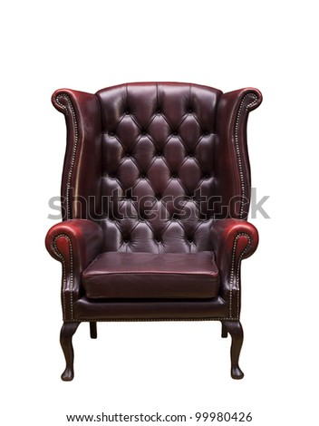 Classic Chesterfield luxury armchair  with clipping path isolated on white - stock photo