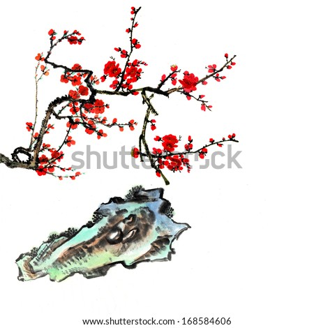 Classic China--Chinese painting--the plum bloom with stone