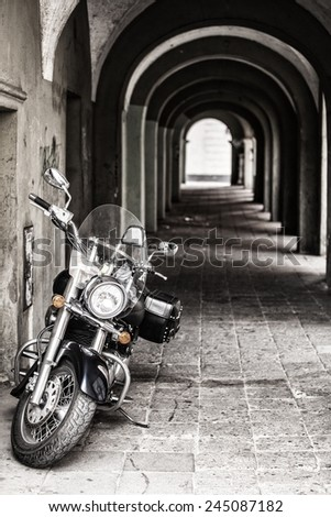 classic chopper, black motorcycle - stock photo