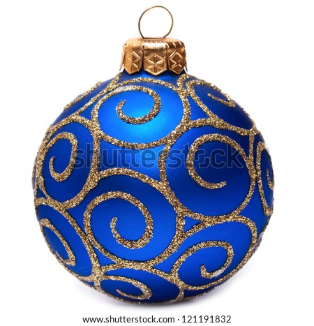 Classic Christmas ball Happy New Year bauble holiday decoration colored blue and golden. Beautiful shiny Merry Xmas symbol.Isolated on white background - stock photo