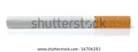 Classic cigarette isolated on the white background close-up