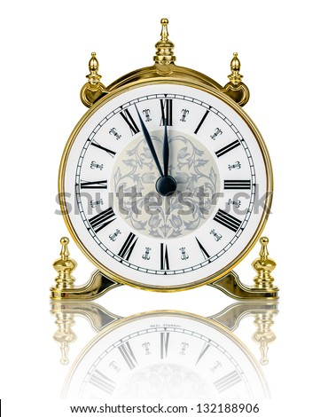Classic clock almost at twelve isolated on white background - stock photo