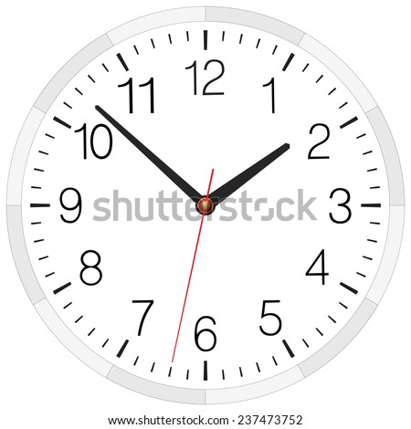 Classic clock placed on white. Raster version illustration. - stock photo