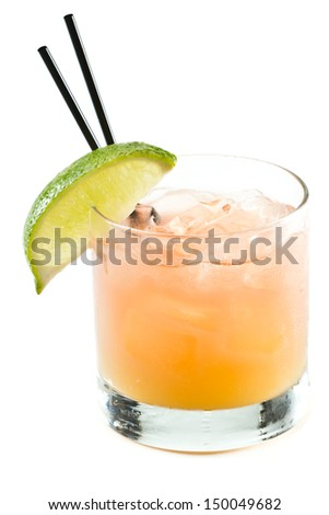 classic cocktail, madras, vodka cranberry and orange juice isolated on a white background - stock photo