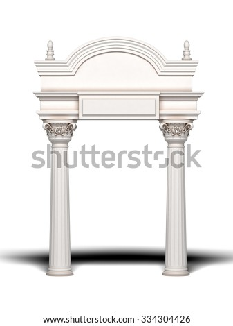 Classic Column Arch. 3d rendering. - stock photo