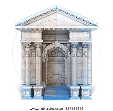Classic Corinthian Arch Mixed Blueprint Style. 3d rendering. - stock photo