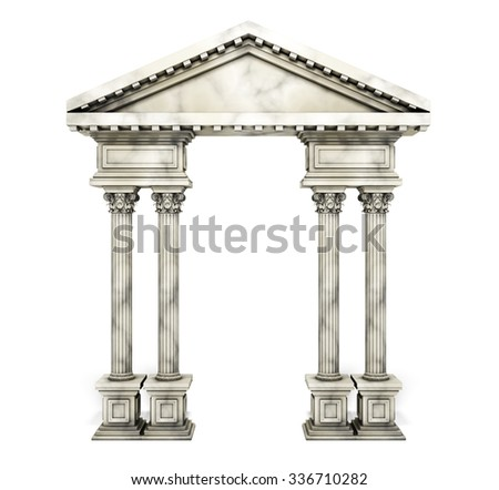 Classic Corinthian Column Arch. 3d rendering. - stock photo