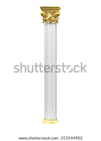 Classic Corinthian Column With Gold Elements - stock photo