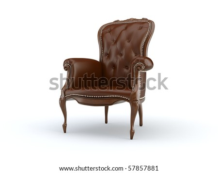 classic 3d chair on the white background