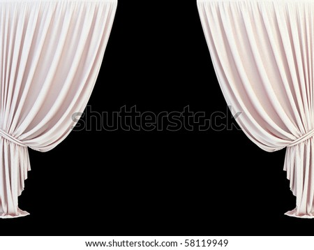 classic 3d curtain on the black background - stock photo