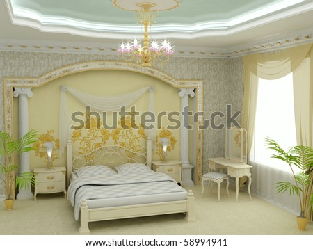 Classic design interior of bedroom. 3D render - stock photo