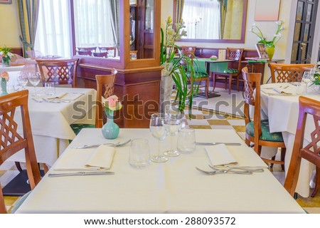Classic dining room in luxury restaurant, hotel.