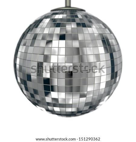 classic disco ball isolated on white with depth of field - stock photo