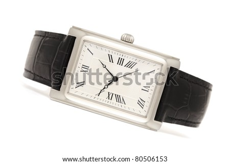 Classic elegance men's watches isolated on white background with shadows - stock photo