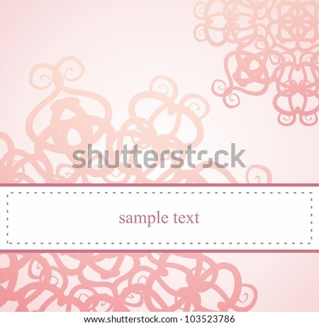 Classic elegant card or invitation for party, birthday, baby shower or wedding with pink floral abstract ornament and white space to put your own text message. - stock photo