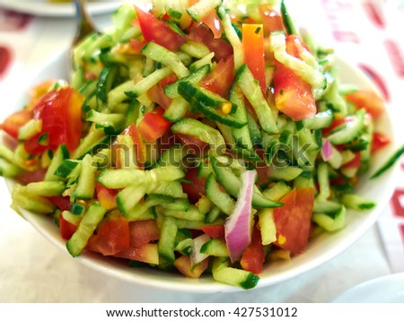 Classic famous Israeli salad made of fr?shly cut vegetables