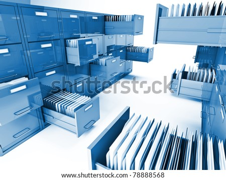 classic file cabinet 3d isolated on white background - stock photo