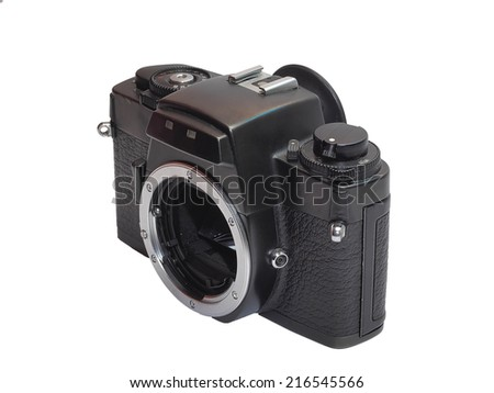 Classic film camera in left upper view isolation / Classic film camera without lens isolation on white background