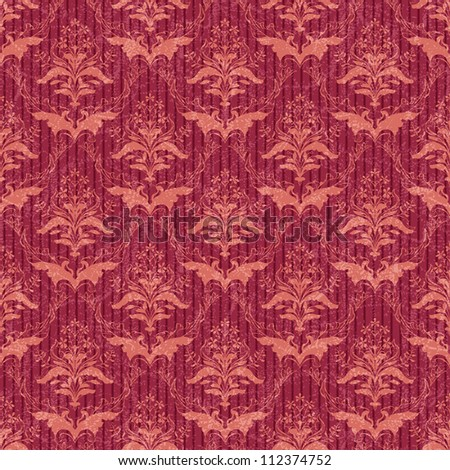 Classic floral seamless damask wallpaper in red and orange