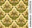 Classic floral wallpaper of stylized plants, seamless damask pattern - stock photo