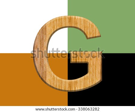 CLASSIC FONT or LETTER and colour design of ALPHABET  G in wood texture natural style