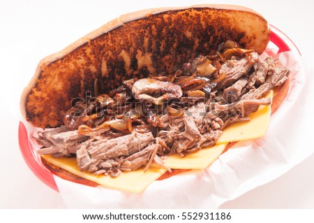 classic french dip au jus or beef dip with fries and sauteed onions take away
