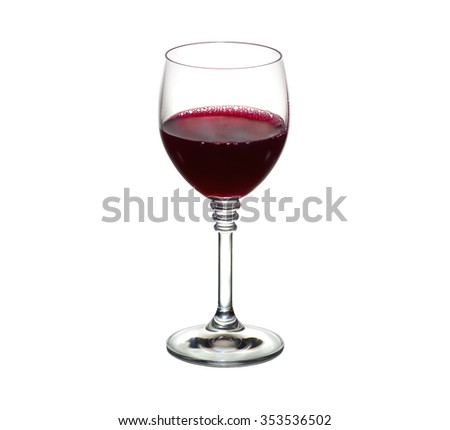 Classic Glass of Red Wine isolated on a white background