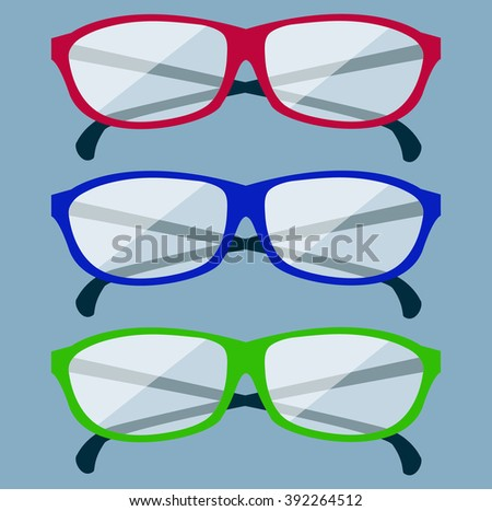 Classic glasses icon. Glasses isolated. Glasses model icons, man, women frames. Eyeglasses isolated. Hipster glasses. Club glasses. Office glasses. Metal framed geek glasses vintage.  glasses - stock photo