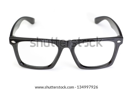 Classic Glasses on white background. Closeup. - stock photo