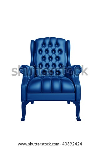 Classic glossy blue chair, isolated on a white background