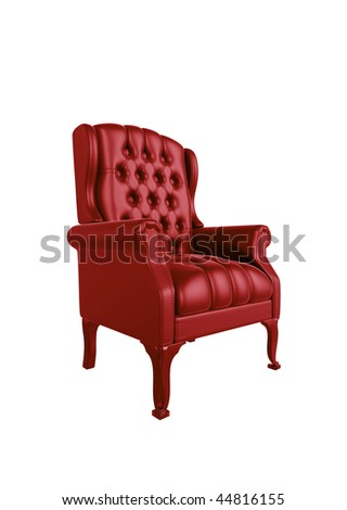 Classic glossy red chair, isolated on a white background