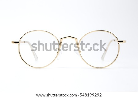 Classic gold round glasses isolated