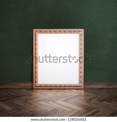 Classic Golden Carved Frame In Galerry Interior (Dark Green Wall Version) - stock photo