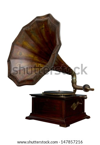 Classic Gramophone on white background - stock photo