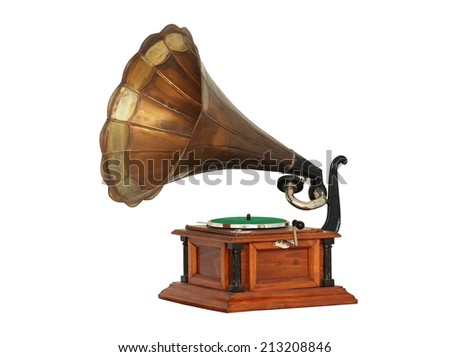 Classic Gramophone on white background with clipping path - stock photo