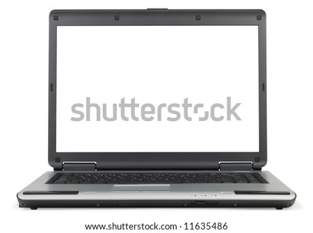 Classic gray laptop isolated with clipping path over white background - stock photo