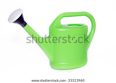 Classic green watering can isolated on white background - stock photo