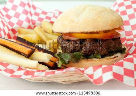 classic hamburger and french fries, but healthy with hand cut potatoes and fresh italian bread and lean ground beef - stock photo