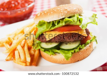 Classic hamburger served on a plate with french fries - stock photo