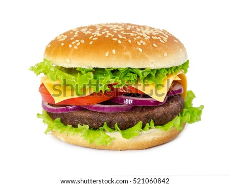 Classic hamburger with cutlet, onion, cheese, tomato and lettuce isolated on white background