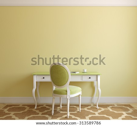 Classic home office interior. 3d render. - stock photo