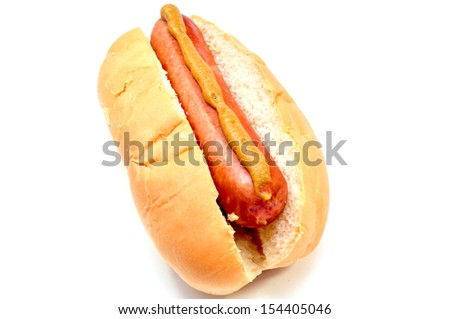 classic hot dog on a white background