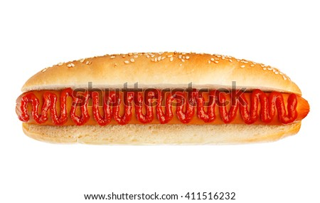 Classic hot dog with ketchup close-up isolated on a white background.