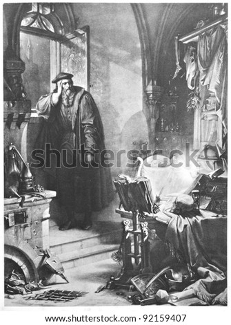 "Classic illustration depicting Faust is philosophizing at night, drawn by August von Kreling in Wolfgang von Goethe's ""Faust"", published in Munich, 1874"