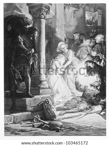 "Classic illustration depicting Gretchen's brother Valentin is dying in the duel with Faust, drawn by August von Kreling in Wolfgang von Goethe's ""Faust"", published in Munich, 1874"