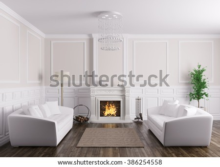 Classic Interior Design Of Living Room With Two White Sofas And Fireplace  3d Render
