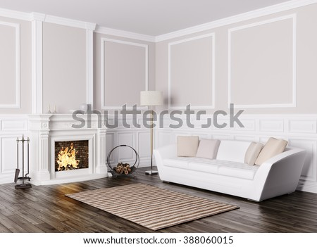 Exceptionnel Classic Interior Design Of Living Room With White Sofa And Fireplace 3d  Render